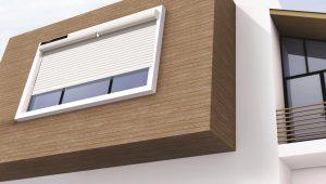 draadloze elektrische screen gemonteerd op woning