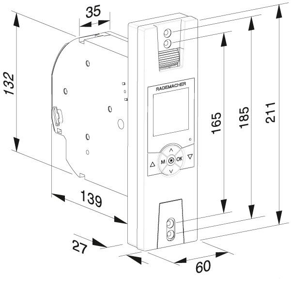 inbouwmaten van de rollotron comfort duofern elektrische bandoproller