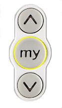 Afbeelding van de Somfy my knop met geel effect toegevoegd